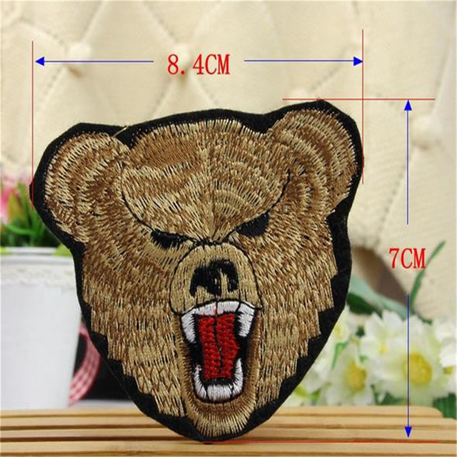 Free shipping men boy clothes animal bear head logo embroidery patch fashion iron on patches for clothing fabric DIY