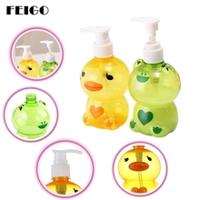 FEIGO 250ml Cute Cartoon Plastic Bathroom Liquid Soap Foam Dispenser Hand  Pump Shampoo Lotion Containers Cleanser
