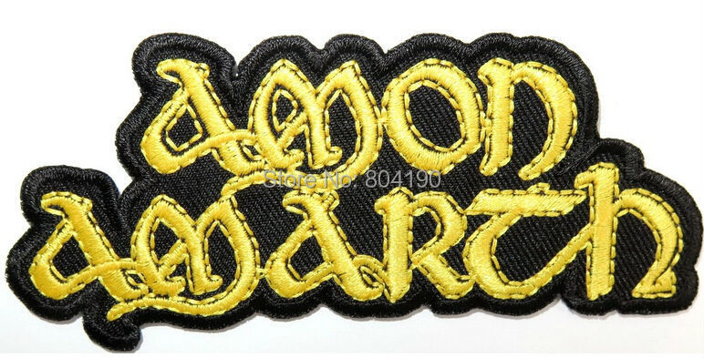 "4.1"" AMON AMARTH Gold Viking Music Band LOGO Embroidered NEW IRON ON and SEW ON Patch Heavy Metal embroidery patches for clothes-in Patches from Home & Garden    1"