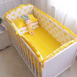 7Pcs Heißer! Baby Bettwäsche Set 100% Baumwolle Krippe Bettwäsche Set Babybett Schutz Sicher Stoßstangen Bettlaken Quilt Abdeckung Kissenbezug
