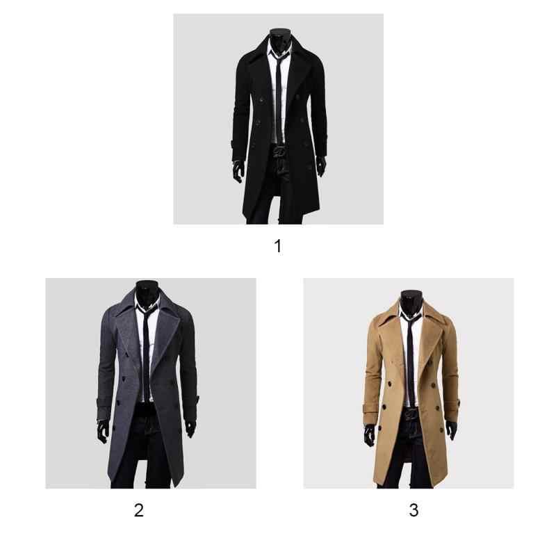 9dad37eb958 ... Gabardina para hombre 2018 nueva moda de diseñador para hombre abrigo  largo Otoño Invierno doble pecho