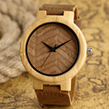 Trendy Wristwatch Bamboo Wooden Watches Men's Watch Natural Wood Pattern Quartz-watch with Genuine Leather Band Relojes
