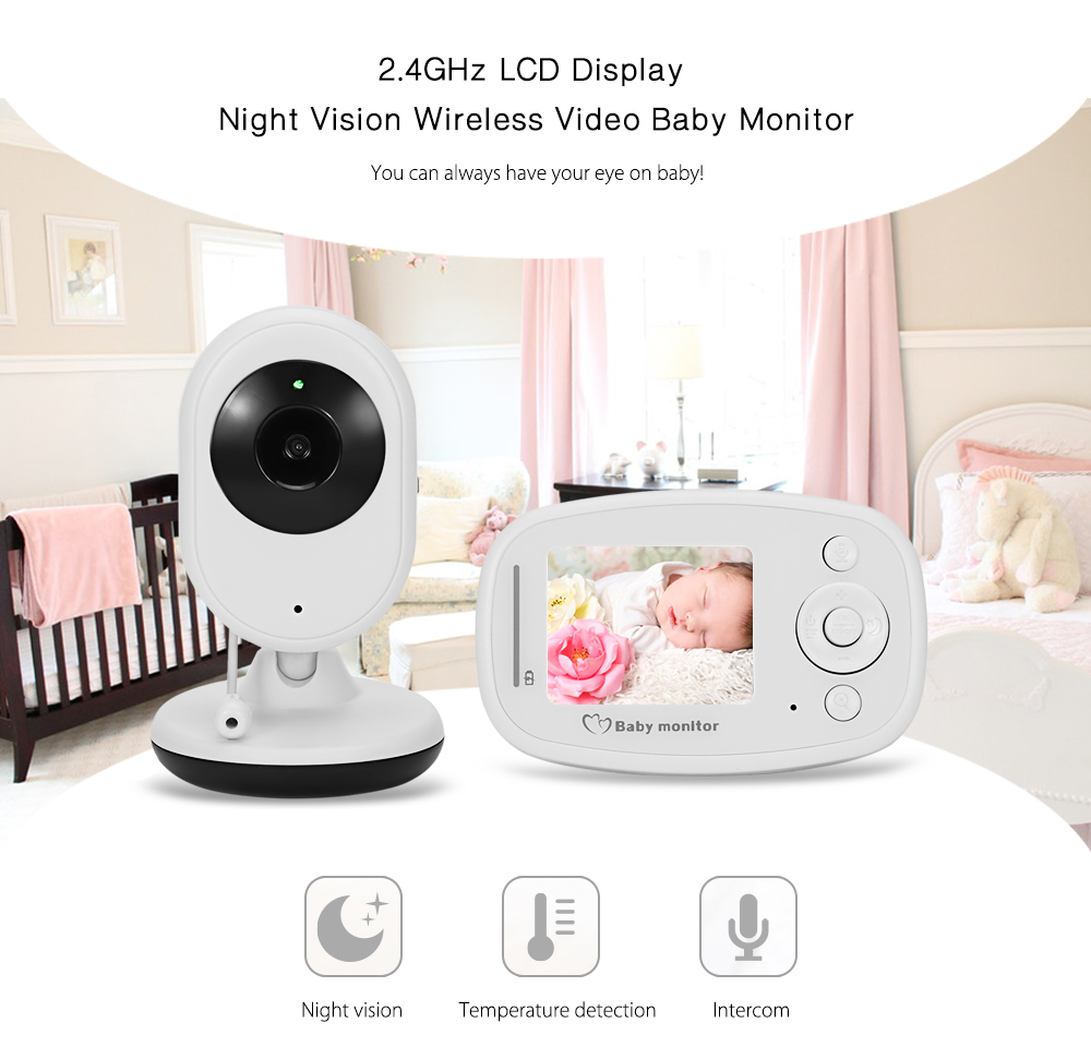 Fimei Night Vision Infant Wireless Monitor Baby Digital Video Monitor Camera Audio Music LCD Temperature Radio Nanny Monitor wireless nanny video baby monitor camera lcd electronica night vision ir temperature smart audio monitor bebe