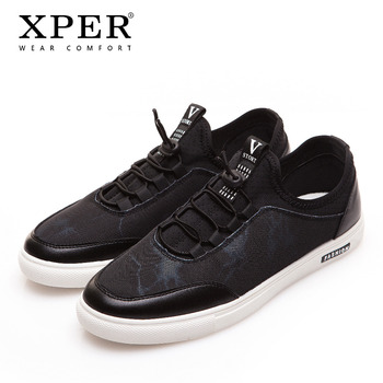 XPER Brands Fashion Men Casual Shoes Comfor Sneaker Slip-on Men Walking Shoes Black Breathable Male Vulcanized Shoes #XD839BL