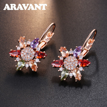 New Fashion Rose Gold Color Flower Shape Earrings Cubic Zirconia Drop Earrings For Women Party Jewelry anka brand romantic flower earrings luxury wave women drop earrings rose gold color charm top zirconia fashion jewelry 26081