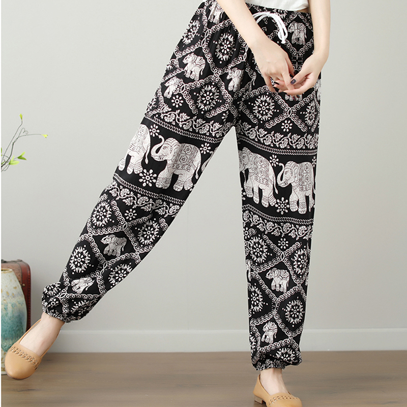 2018 Summer Loose Pants New Boho Printed Cotton Trousers Elephant Printing Elastic Hem Waist With Pockets Hot Sell Bottoms