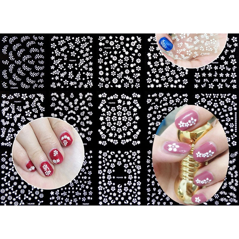 Image 3 - 3D Nail Stickers Decals 30PCS/Lot Transfers White Flower Rhinestone Nail Art Sticker Decals Foam Nail Polish Sticker-in Stickers & Decals from Beauty & Health
