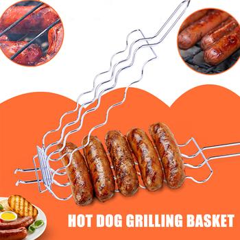 Hot Dog siatka metalowa kosze Rack BBQ Grill kiełbasa grillowanie kosz piknik stojak na grill kosze BBQ wielki Grill dla 6 hot dogs tanie i dobre opinie CN (pochodzenie) Basting szczotki Łatwo czyszczone Odporność na ciepło Non-stick STAINLESS STEEL Nie powlekany Grilling Basket