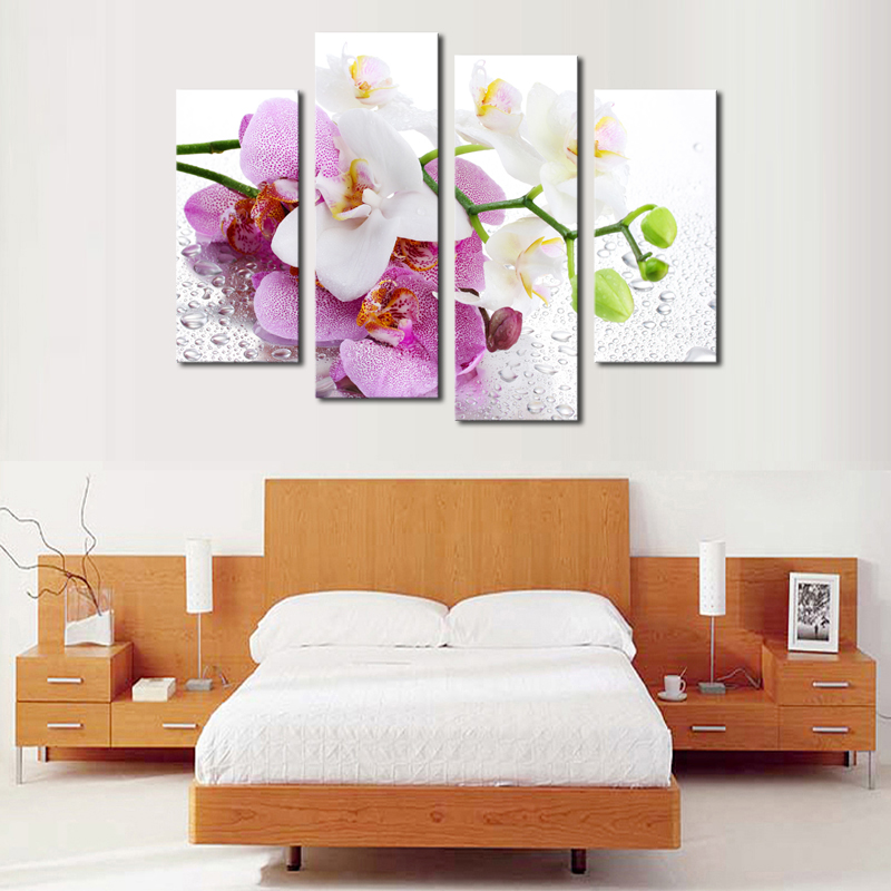 wall picture frames for living room. 4 Pcs  No Frame Pink Flowers Wall Art Picture Modern Home Decoration Living Room or Bedroom Canvas Print Painting picture in Calligraphy