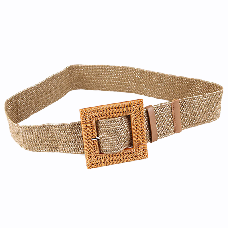 NEW-Bohemia Vintage Knitted Wax Rope Wooden Bead Waist Rope Women Smooth Square Buckle   Belt   Women Woven Female Braided   Belt