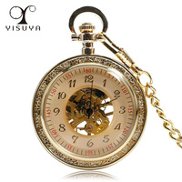 Vintage Bronze Open Face Mechanical Hand Wind Pocket Watch Arabic Numerals Clock Time With 30cm Chain