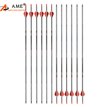 6/12 PCS Spine 500 Archery 30 Hunting Bow Mix Carbon Arrows Target Points For Recurve Compound Longbow Shooting