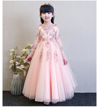 Girls Wedding Dresses Long Sleeve  Pink Bead Appliques Lace Party Princess Birthday Dress First Communion Gown Flower Girl Gown