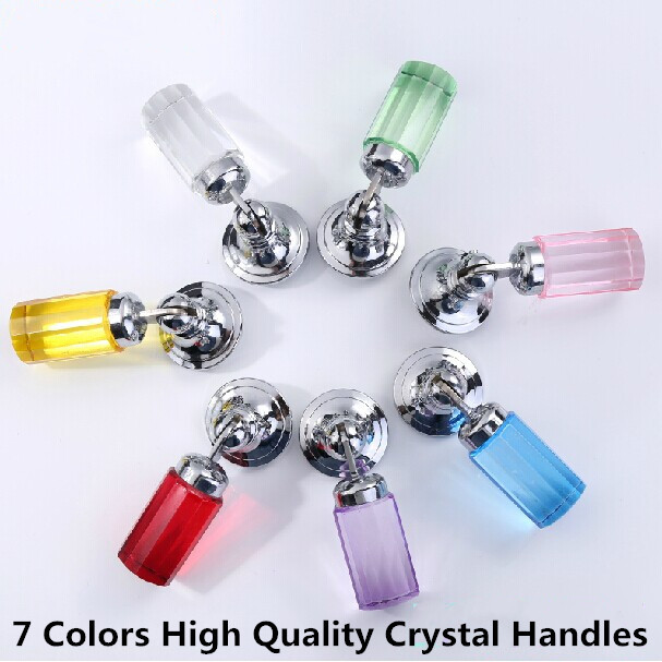 Fashion deluxe glass crystal shaky knobs silver drawer cabinet knobs pulls red blue yellow crystal furniture decoration handles css clear crystal glass cabinet drawer door knobs handles 30mm