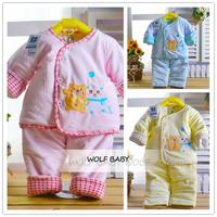 0 6months Leisure Wear Set Cartoon Thickened Velvet Cotton Padded Baby Kids Infants Clothes Clothing Spring