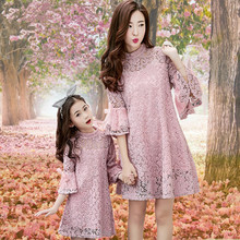 Mom Girl Lace Dresses Family Matching Clothes Match