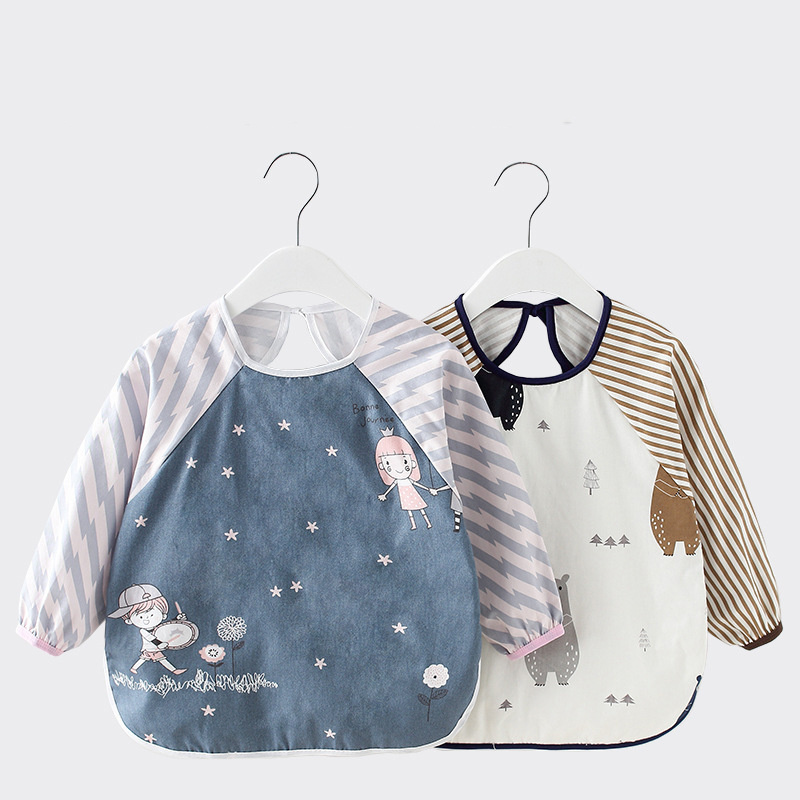 Bandana Bibs Drawing-Apron Burp-Cloth Eating Long-Sleeve Baby Feeding Reversible Waterproof