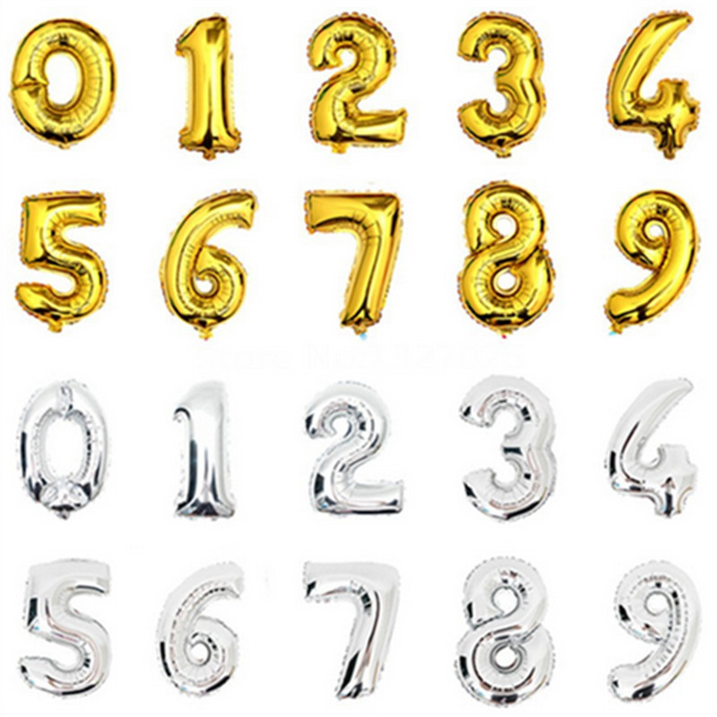 1PCS16inch Gold Silver Number Foil Balloons Kids Party Decoration Happy Birthday Wedding Digital balloon Number Children's gifts