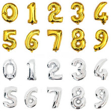 BINGTIAN 1PCS 16inch Gold Silver Number Foil Balloons Kids Party Decoration Happy Birthday Wedding Digital balloon