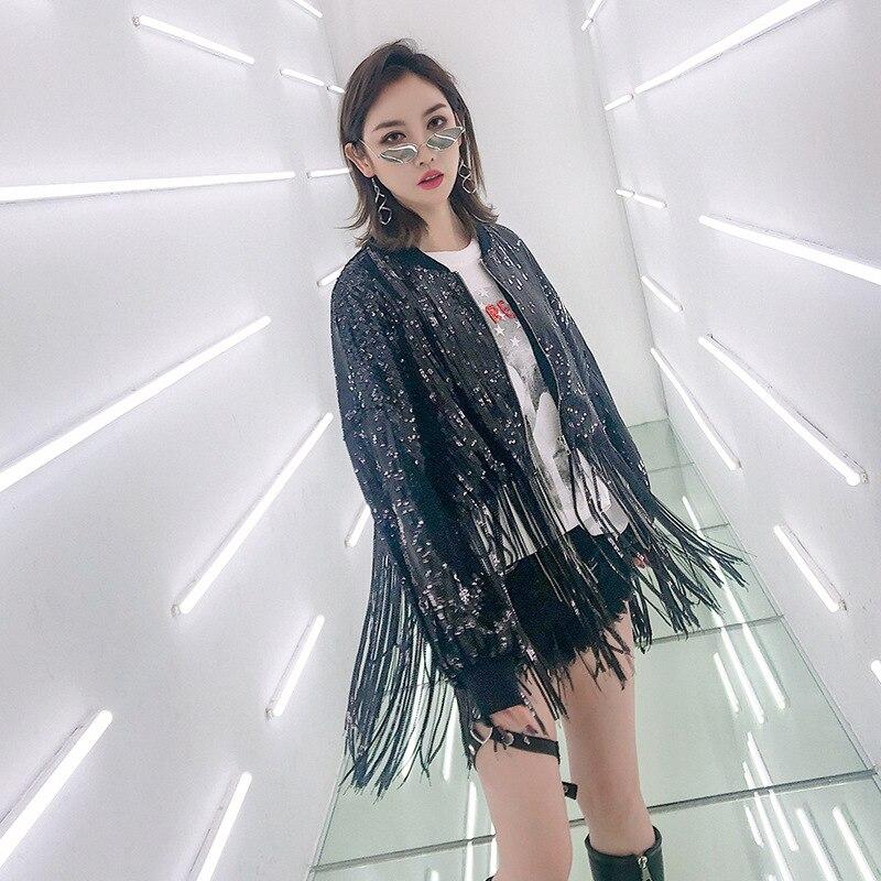 Nouvelle Femmes Femelle Steampunk Courte Black 2019 Printemps Manches Mode Paillettes Gland souris À Haute Chauve Taille Veste Style Streetwear XAX0q