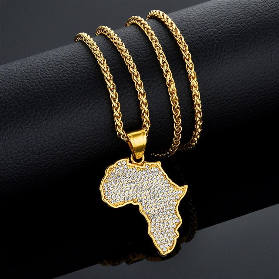 Hiphop Mapa de África Mapas Africanos Colares Pingentes de Aço Inoxidável da Cor do Ouro Colar de Pingente de Mulheres Homens Jóias Colar Da Terra