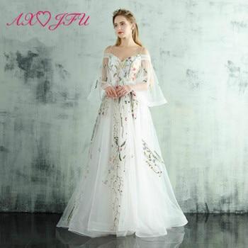 AXJFU flower white lace princess evening Dress Spaghetti strap sweetheart lace evening dress embroidery white evening dress