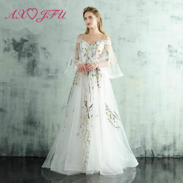 cb531c2b57 AXJFU kwiat biały koronki księżniczka wieczór ramiączko spaghetti do  sukienki sweetheart koronki suknia wieczorowa haft biała