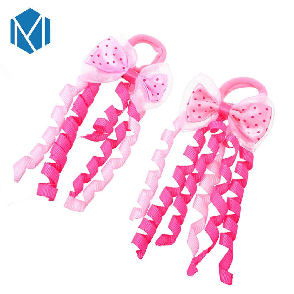 Mism2pcs/conjunto crianças curl ribbon scrunchy acessórios para o cabelo colorido crianças laços de cabelo elástico meninas bowknot grampo de cabelo cor aleatória