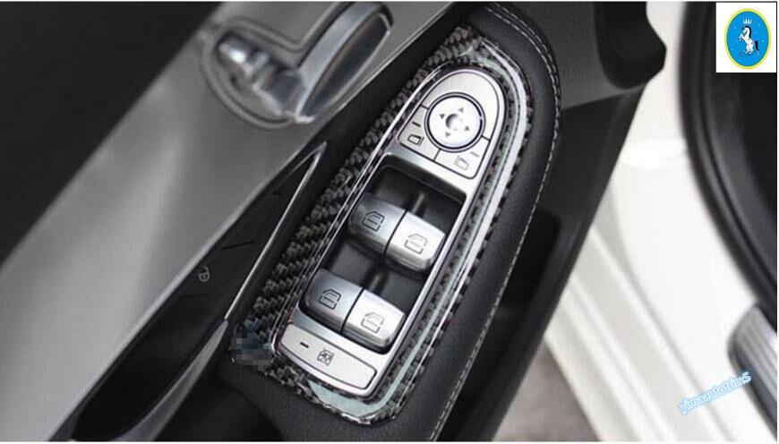 Lapetus Carbon Fiber Interior For Mercedes Benz C Class W205 / GLC X253 2015 2018 Door Armrest Window Lift Button Cover Trim