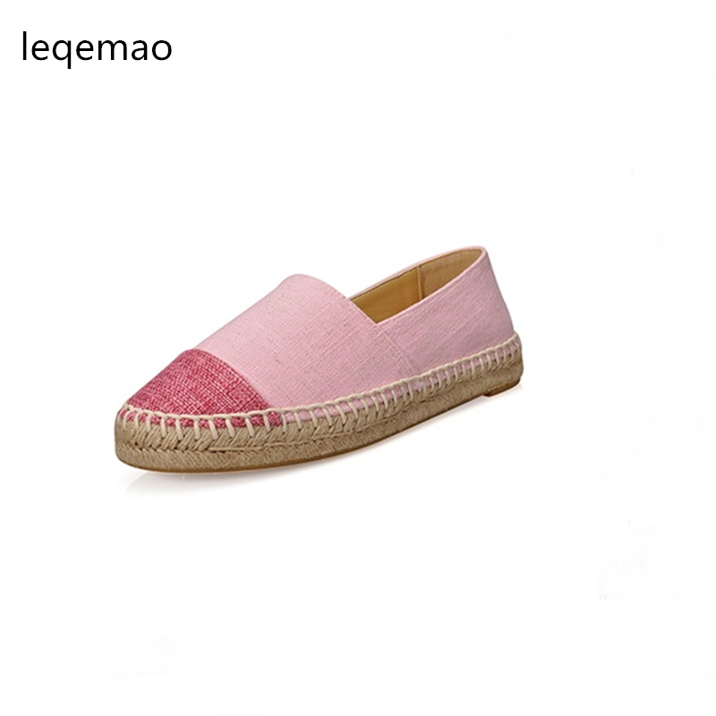 Hot Big Size 34-42 Shoes Slip-On Round Toe Fashion Seasons Women Flats Canvas Espadrilles Luxury Brand Casual Ladies Loafers new women flats shoes leather round toe shoe ladies fashion leather girl shoes slip on work footwear spring summer big size