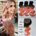3Pcs 1B Rose-Gold Ombre 7A Malaysian body wave human hair bundle with a 4*4 closure,Rose Gold ombre virgin hair with closure