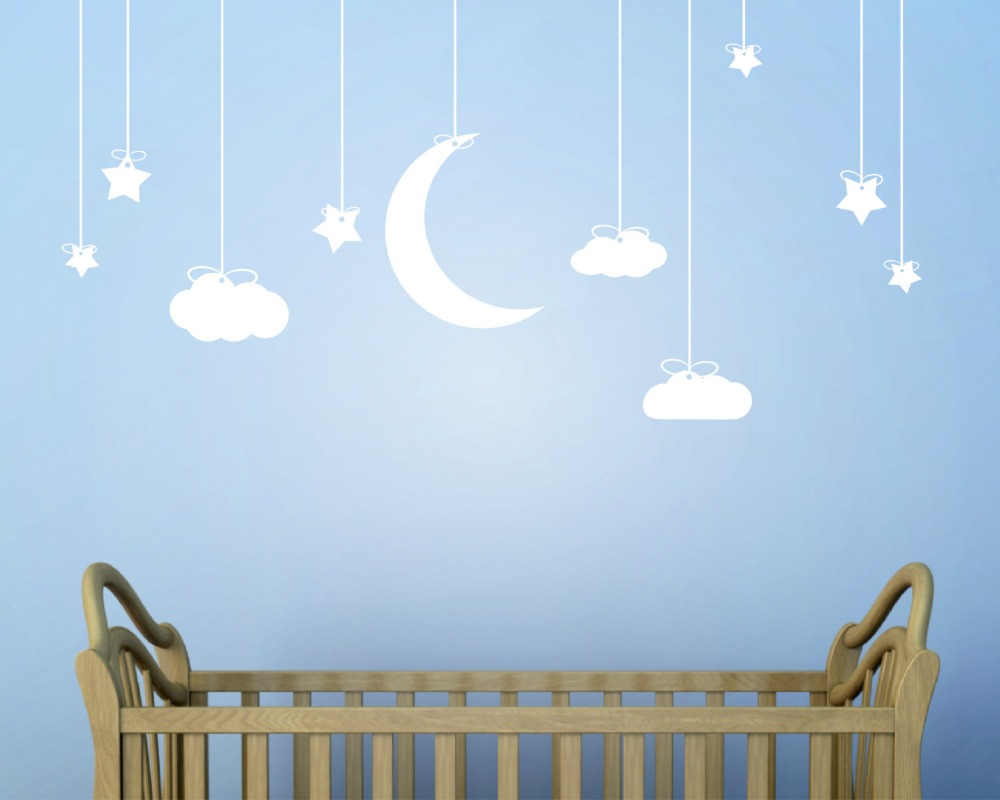 190X78cm Hanging Stars And Moon Clouds Wall Art Stickers Removable Wall  Stickers For Kids Room Nursery Baby Wall Art Mural D856 In Wall Stickers  From Home ... Part 60