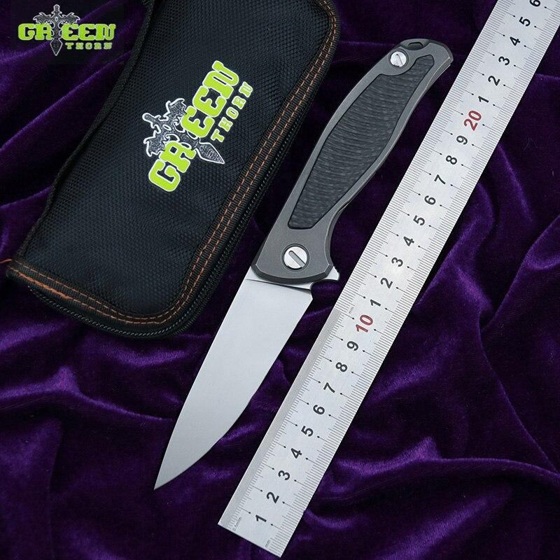 Green thorn F95 Flipper folding knife D2 blade TC4 Titanium Carbon fiber handle outdoor camp hunting