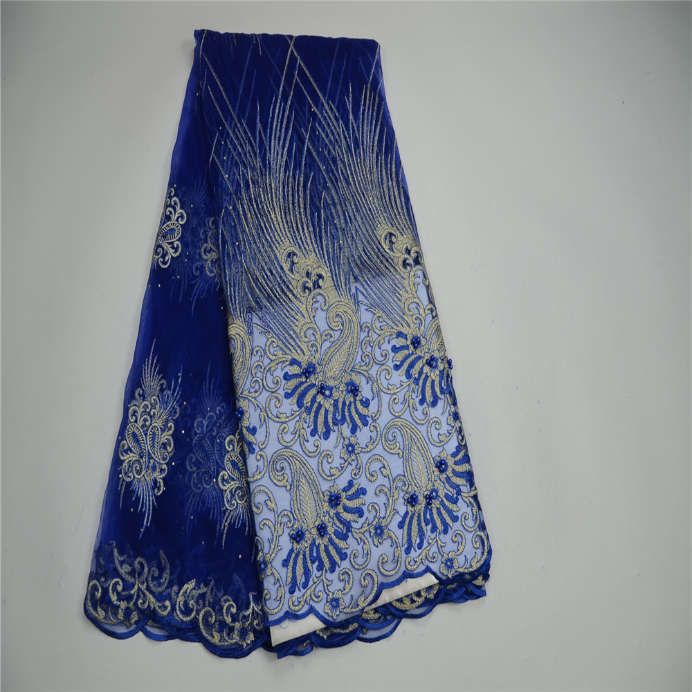 HFX Latest Style Bead stones Lace Fabric 2018 Fashion African Lace Fabric Tulle African French Lace Fabric High Quality H181 1