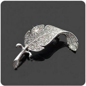 Korean Version Of Rhinestones Leaves Brooch Feather Pin Women's Men Can Wear Brooch Custom Jewelry