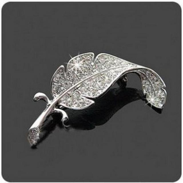 Корейская версия страз листья брошь перо булавка Женская Мужская может носить брошь на заказ ювелирные броши Para As Mulheres Pin