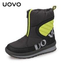 Скольжению дети мода Сапоги и ботинки для девочек новое поступление uovo бренд Обувь для мальчиков Обувь для девочек зимние сапоги теплая детская обувь Botas Size30-38