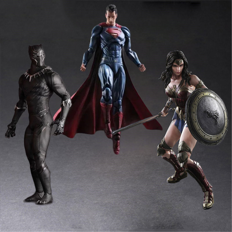 Play Arts Dark Of Justice Spiderman Wonder Girl Woman Black Panther PA Kai PVC Action Figure Doll Toys Kids Gift Brinquedos play arts kai god of war 3 kratos ghost of sparta pa 28cm pvc action figure doll toys kids gift brinquedos free shipping kb0329
