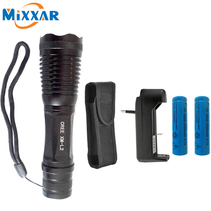 ZK15 High Power 4500LM CREE XM-L2 T6 LED Flashlight 5 modes Adjustable Tactical Torch Lamp lanterna +Rechargeable 18650 Battery rechargeable 2000lm tactical cree xm l t6 led flashlight 5 modes 2 18650 battery dc car charger power adapter