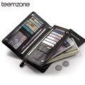 teemzone New Unisex Genuine Leather Women Zipper Wallet Credit Card holder Checkbook Cash Receipt Holder Phone Handbag S3393