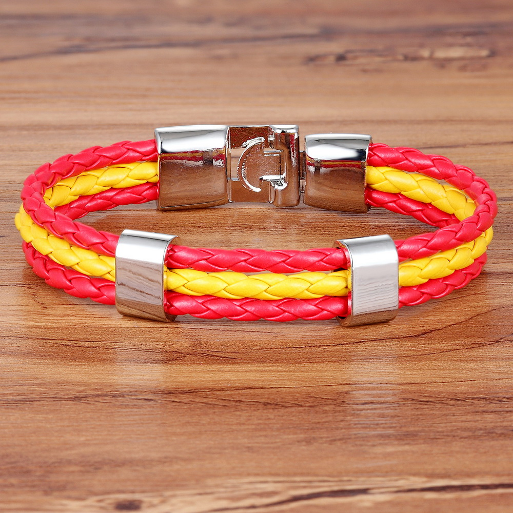 2019 New Fashion  Braided Surfer Bandage National Spain Flag Leather Bracelets Trendy Sporty Friendship Bracelets For Men Women