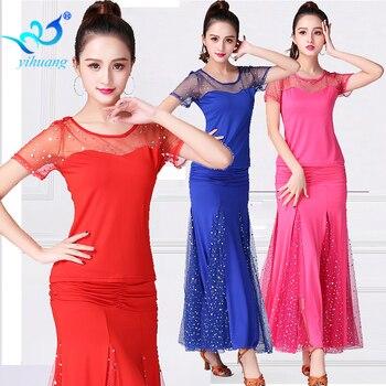 Ladies Ballroom Dance Costume Suit Set Tango Women Modern Standard Waltz Competition Outfits Dancewear 2pcs Tops+Skirt #13