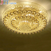 M European-Style Luxury Crystal Ceiling Light Round Sitting Room Remote Control LED Light Dia 60/80/100cm Golden And Silver Type