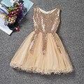 Девушки ну вечеринку платья летние дети европейский стиль цвет шампанского блестками принцесса девушка свадебное платье девочки наряжают детская одежда
