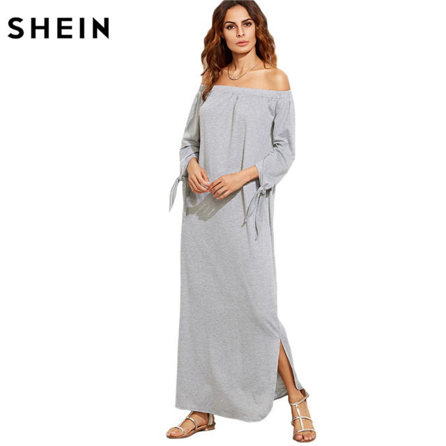 3af13868bcd2 SHEIN Long Shift T-shirt Dresses For Ladies Summer Heather Grey Off The  Shoulder Tie