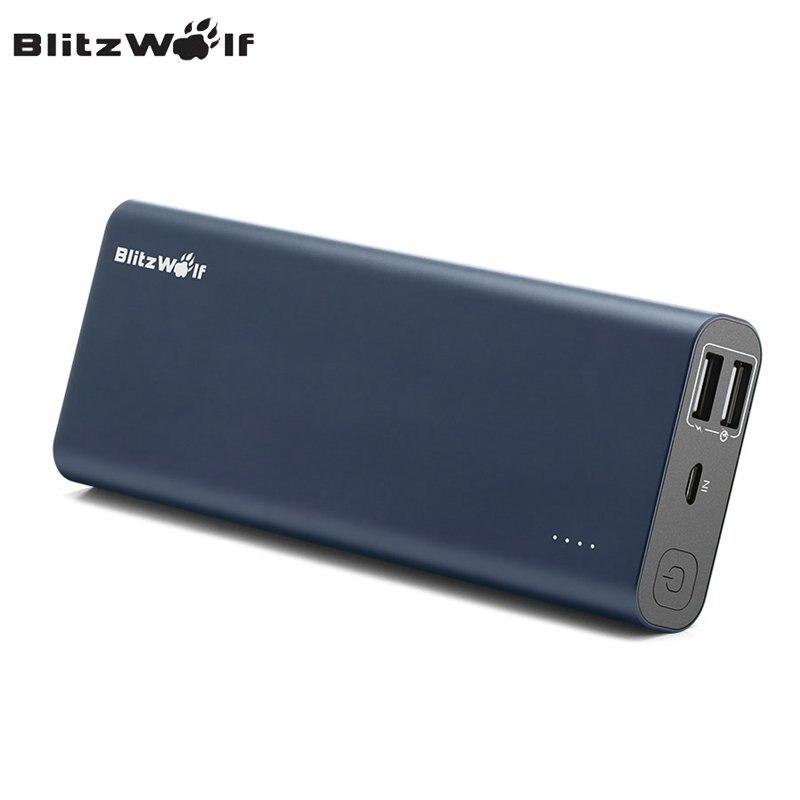 Blitzwolf qc3.0 bw-p5 15600 mah de carga rápida usb dual power bank cargador de