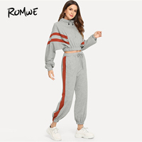 ROMWE Contrast Panel Quarter Zip Sweatshirt With Drawstring Pants Spring Autumn Long Sleeve Tapered Carrot Stand Collar Set
