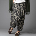 Las mujeres de Lino Pantalones Harem Ocasional Pantalones Pantalon Femme Nepal India Bloomers Sueltos Pantalones de Cintura Elástica Pantalones de Pierna Ancha Floja Pantalones 2016
