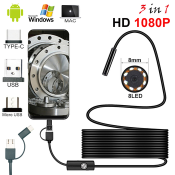 3in1 8mm 8Led Typ C Wasserdicht 1080 P Endoskop Kamera Inspektion 1 m 2 m 3,5 m 5 m USB Kabel Endoskop Endoskop Android Endoskop