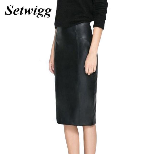 Setwigg alta qualidade pu de couro saias lápis império cintura zipper primavera preto faux couro sintético bodycon saia do escritório